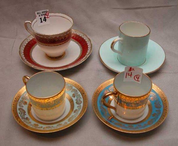 14: Lot of 4 demi-tasse cups & saucers: 2 Limoges, 1 Ha