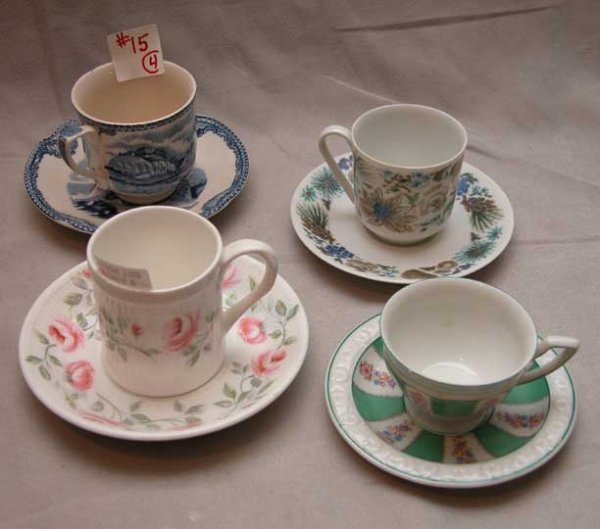 15: Lot of 4 demi-tasse cups & saucers: 1 Rosenthal, 1