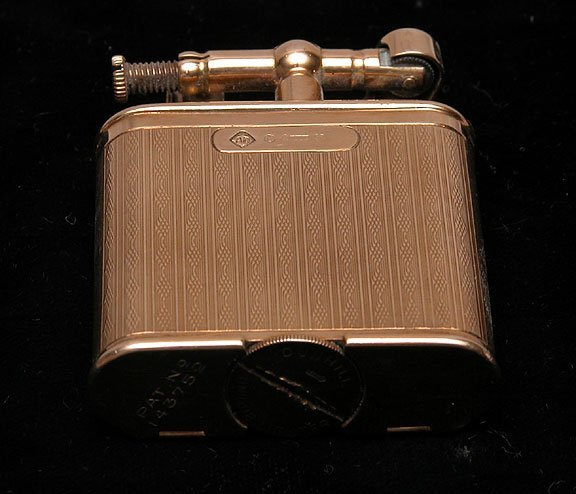 """209: Dunhill clock lighter 9 kt Gold """"Pat. No.143752"""" - 2"""