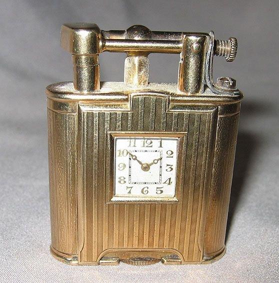 """209: Dunhill clock lighter 9 kt Gold """"Pat. No.143752"""" - 3"""