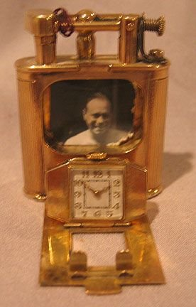 """209: Dunhill clock lighter 9 kt Gold """"Pat. No.143752"""" - 5"""