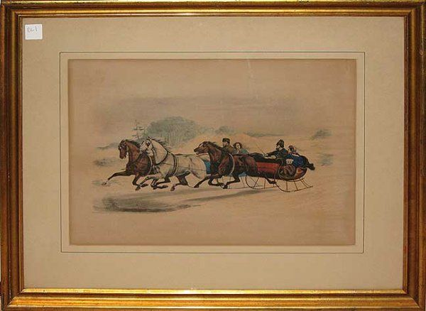 330: Colored lithograph Currier and Ives titled in whit