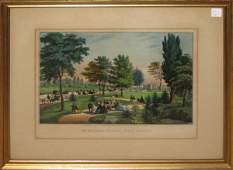 """334: Colored lithograph, Currier and Ives, """"Central Par"""
