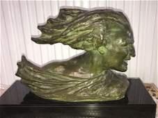 "Large bronze bust, signed R. Varnier, 15""h x 22""w x 8""d"