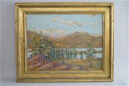 American Western picture signed W.F.William, mountain