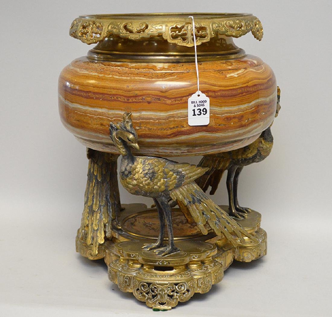 French Gilt Bronze & Marble Center Piece with figural