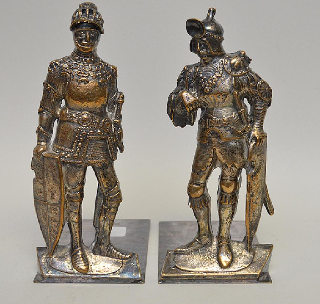 """Pair Silver Plated Bronze """"Knight"""" Bookends."""