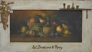 American School Antique Pastel, still life fruits,