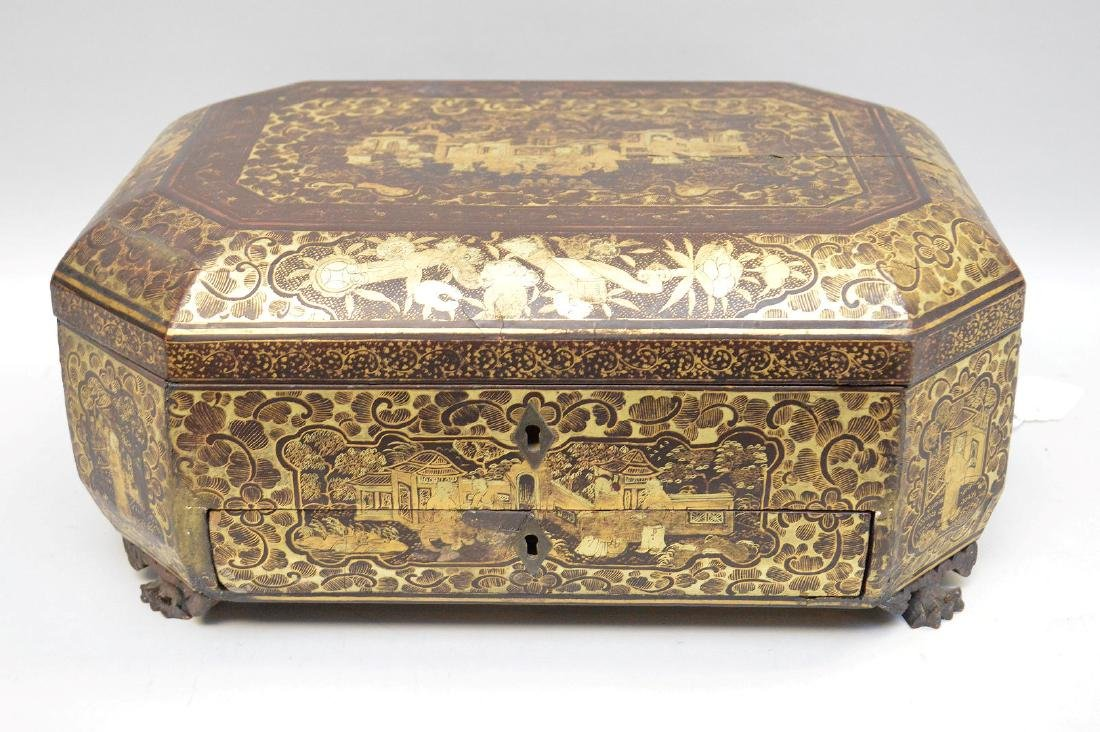 Chinese Lacquer Box With Chinoiseries Decoration.