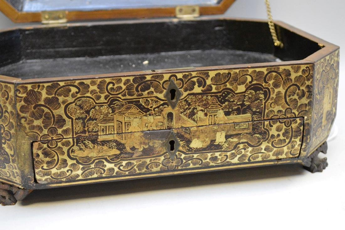 Chinese Lacquer Box With Chinoiseries Decoration. - 6