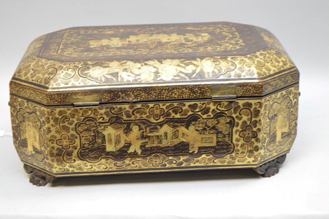 Chinese Lacquer Box With Chinoiseries Decoration. - 7