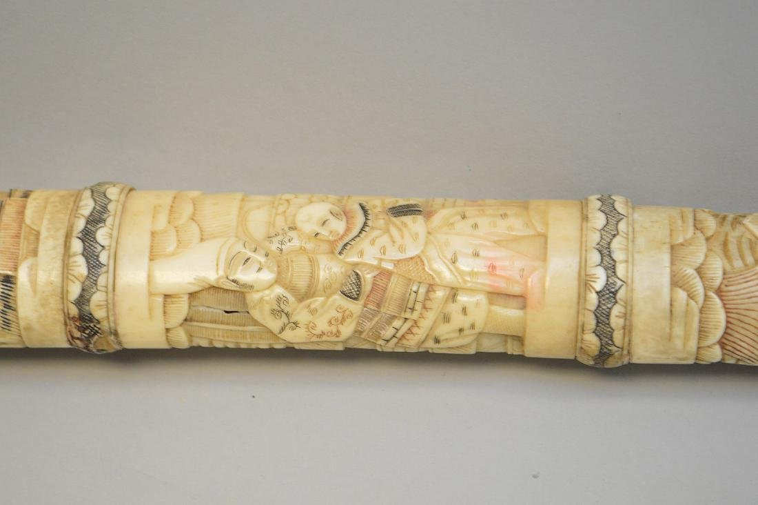 Antique Japanese Sword with carved bone sheath and - 6