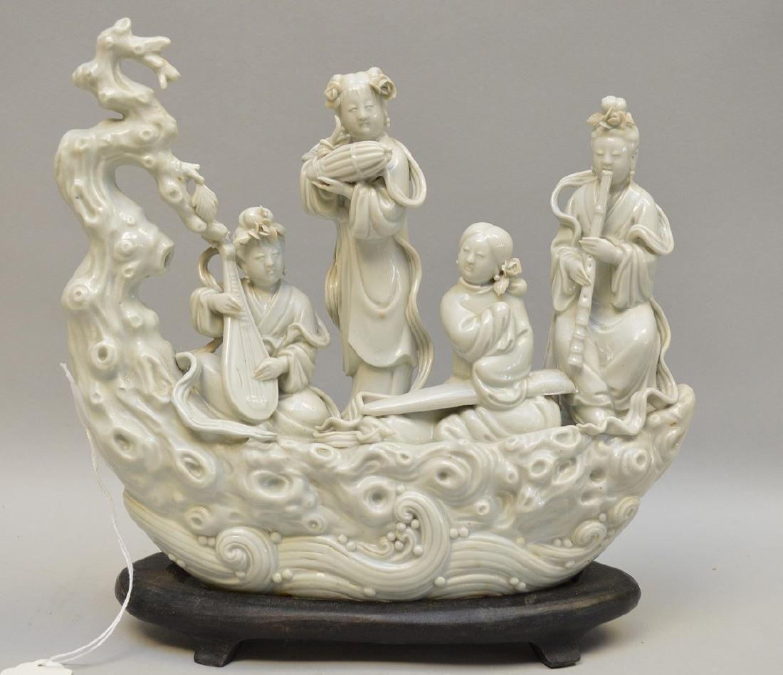 Chinese Blanc De Chine Porcelain Group mounted on a