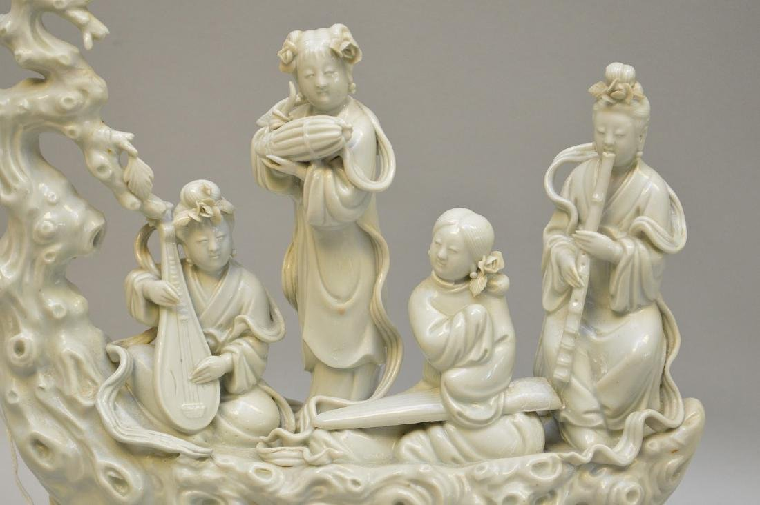 Chinese Blanc De Chine Porcelain Group mounted on a - 3