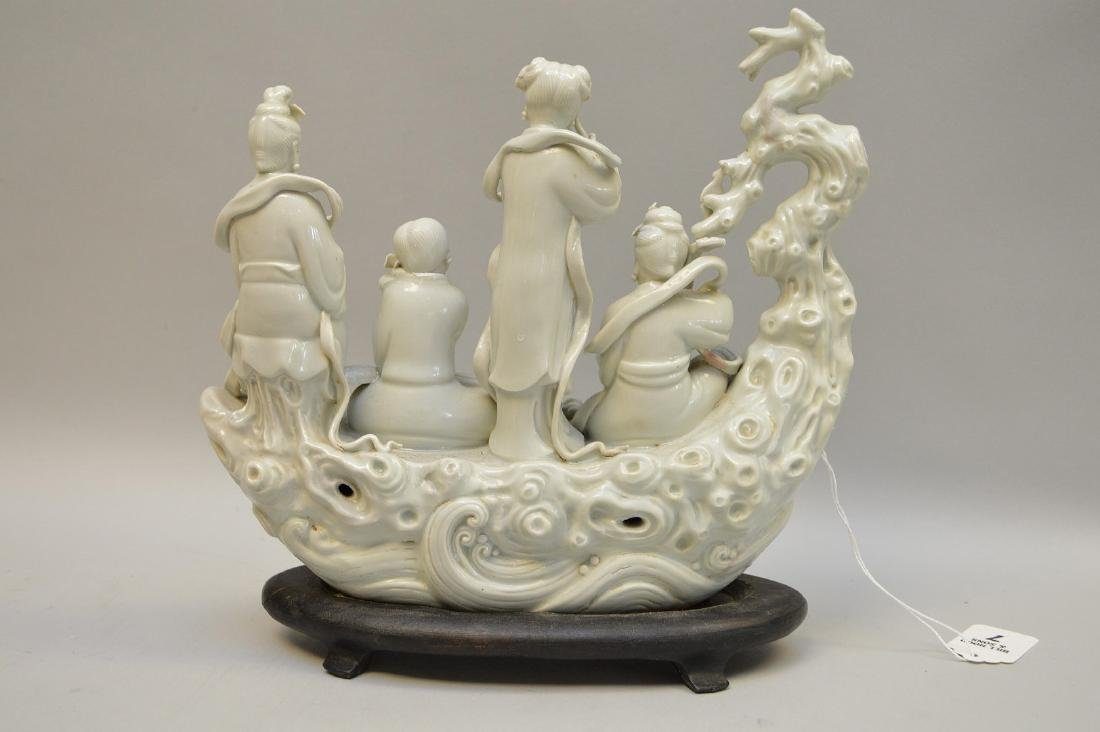 Chinese Blanc De Chine Porcelain Group mounted on a - 4