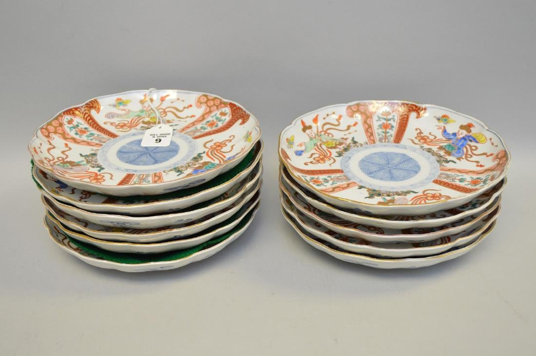 11 Chinese Imari Plates.  Condition: no cracks or