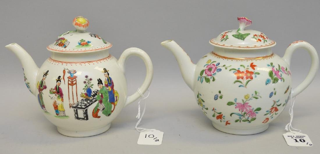 Two Chinese Porcelain Tea Pots.  1 Teapot with floral