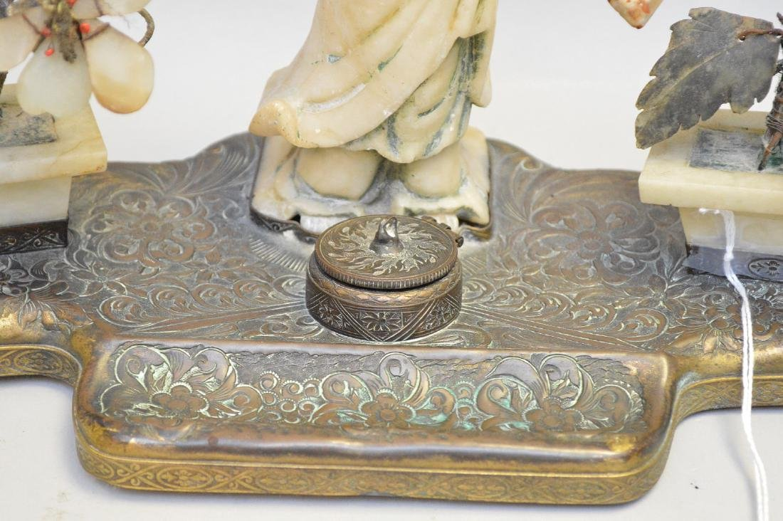 """Chinese Carved Soapstone & Bronze Inkwell.  Ht. 8"""" Wth. - 2"""