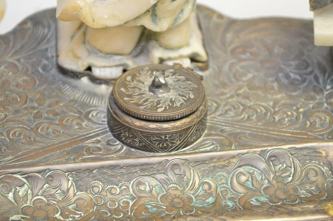 """Chinese Carved Soapstone & Bronze Inkwell.  Ht. 8"""" Wth. - 3"""