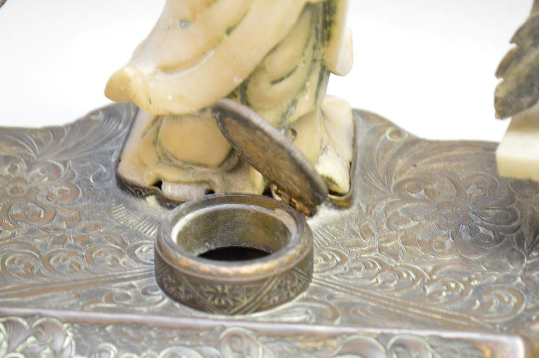 """Chinese Carved Soapstone & Bronze Inkwell.  Ht. 8"""" Wth. - 6"""