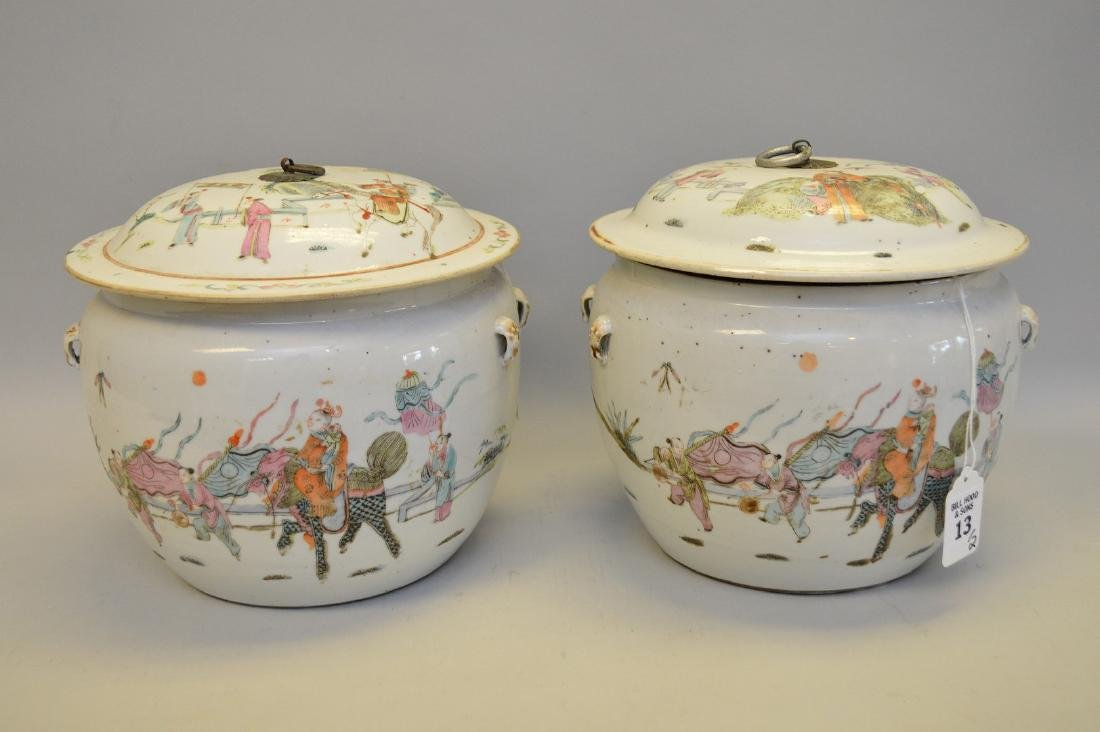 Two Chinese Porcelain Jars.  Each with hand painted