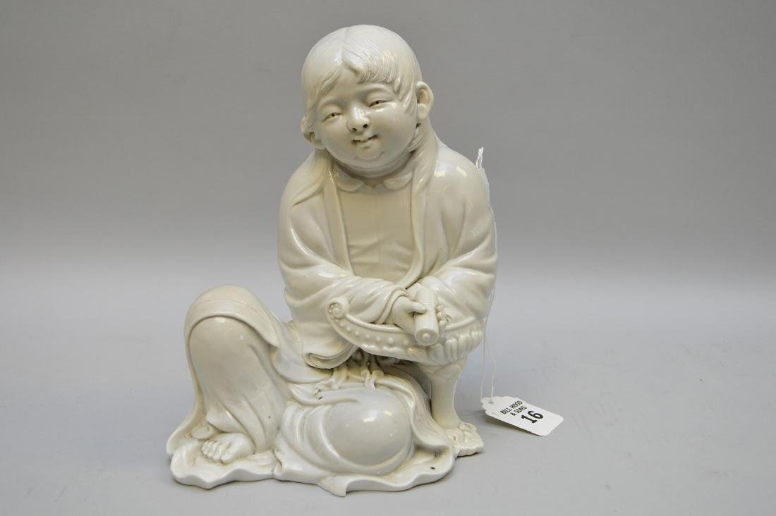 Early Japanese Blanc De Chine Porcelain Figure.