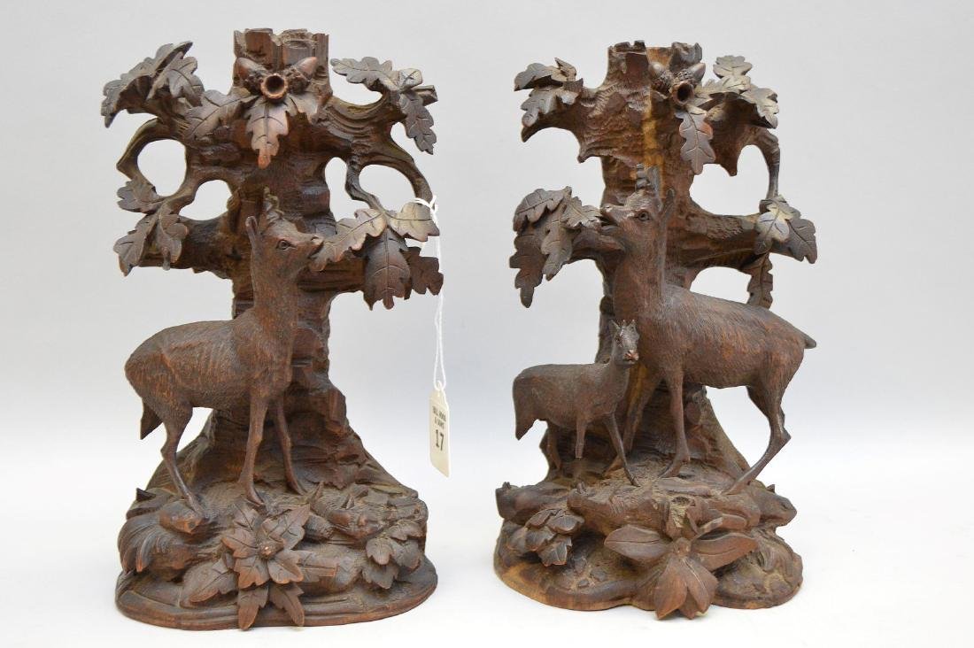 Pair Black Forest Carvings.  Condition: small losses to