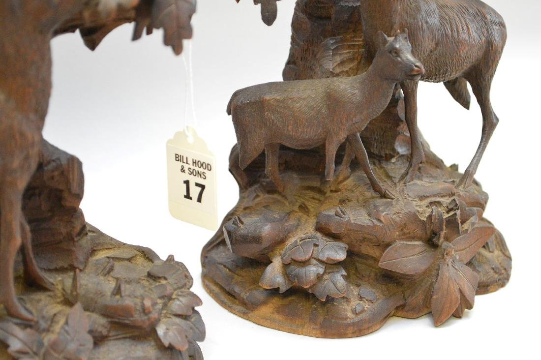 Pair Black Forest Carvings.  Condition: small losses to - 2