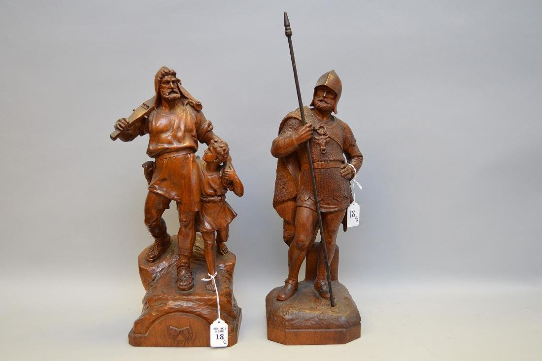 Pair Antique Continental Wood Carvings.  Man with child