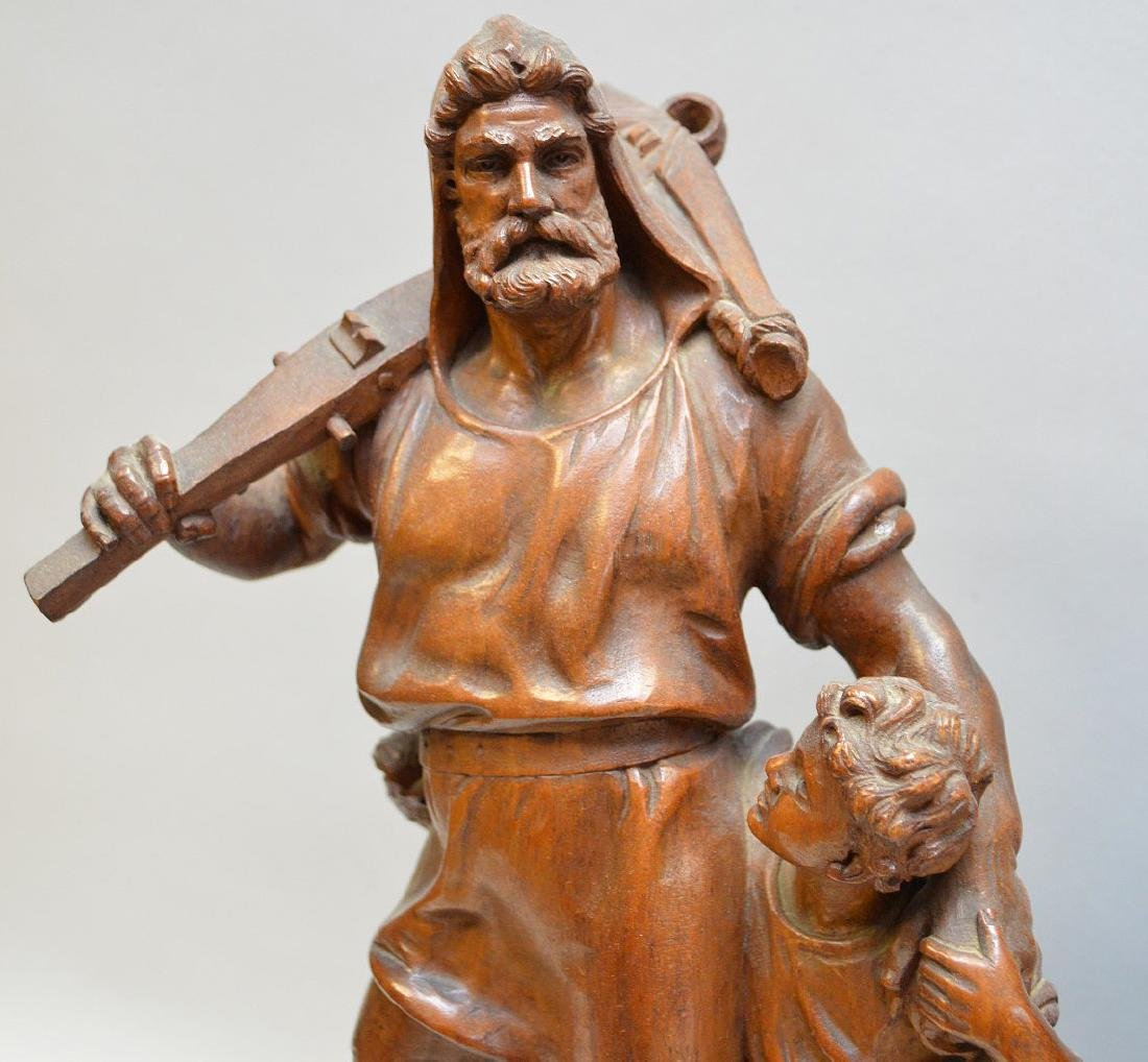 Pair Antique Continental Wood Carvings.  Man with child - 6