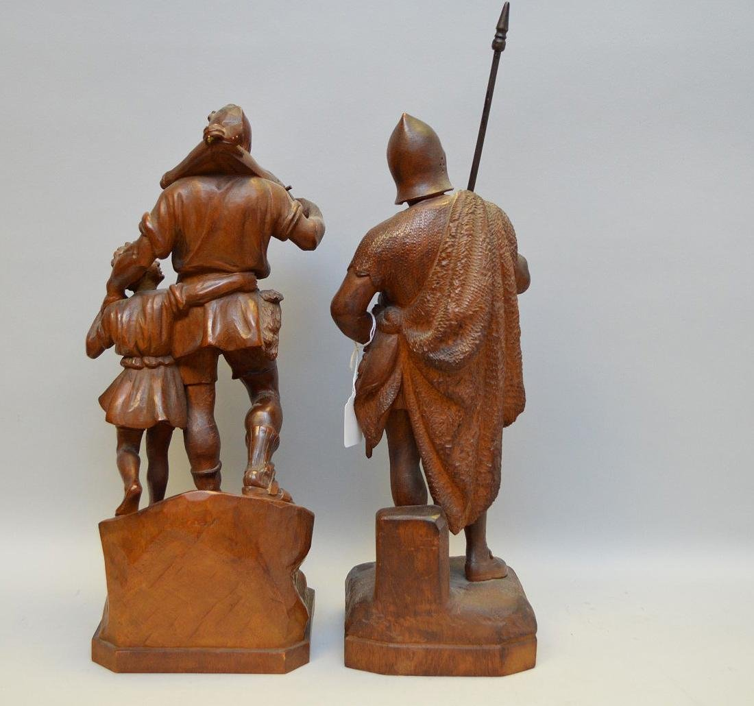 Pair Antique Continental Wood Carvings.  Man with child - 8