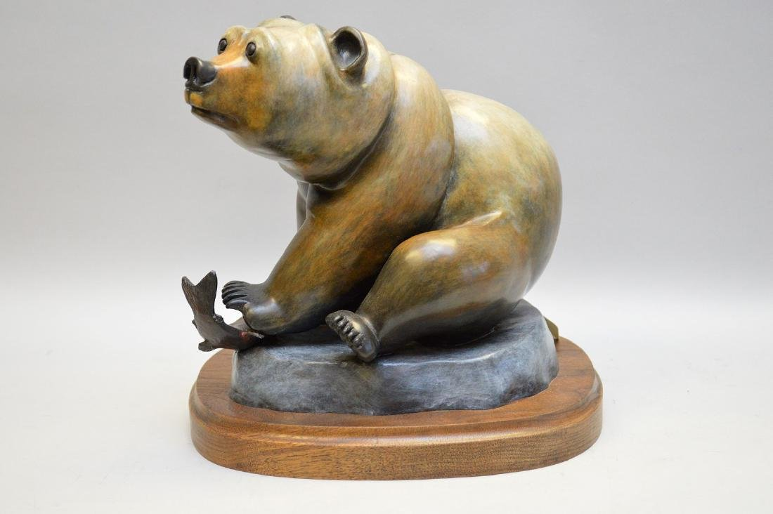 Poly Chromed Bronze Bear mounted on a wood base.