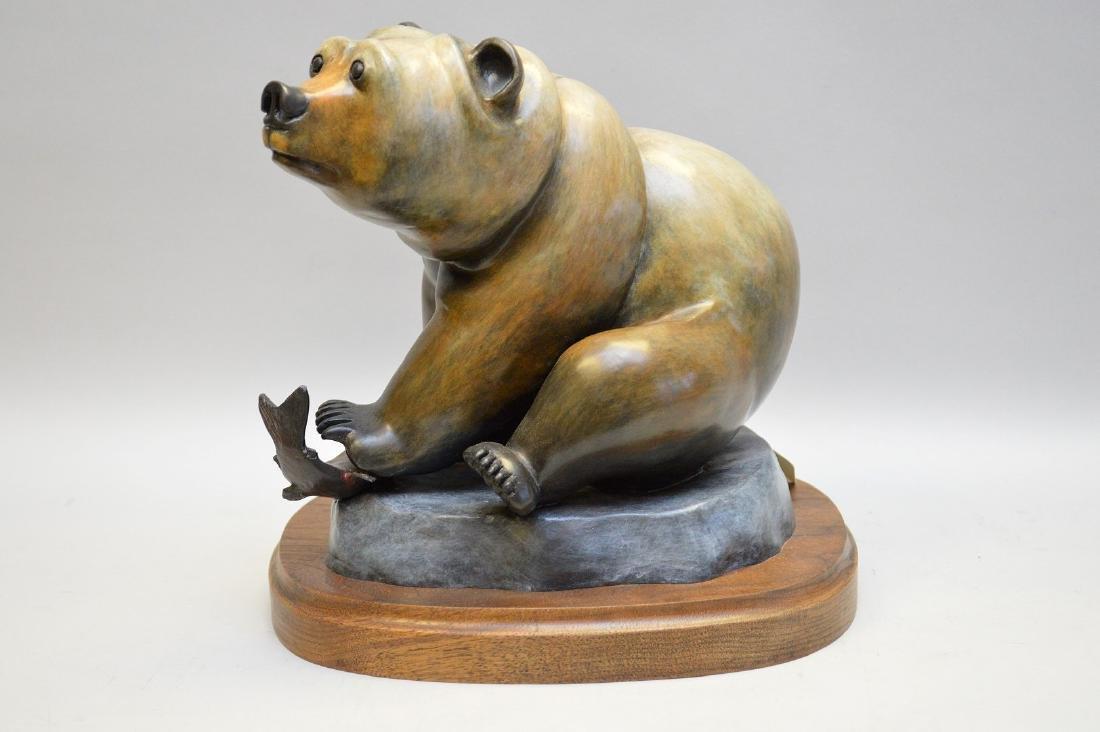 Poly Chromed Bronze Bear mounted on a wood base.