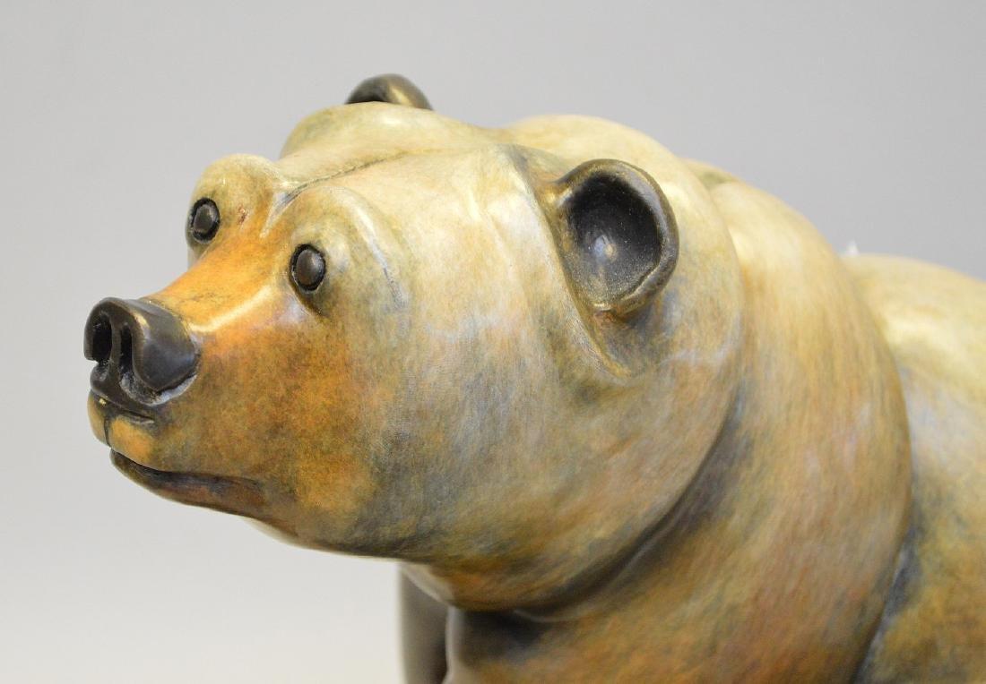 Poly Chromed Bronze Bear mounted on a wood base. - 2
