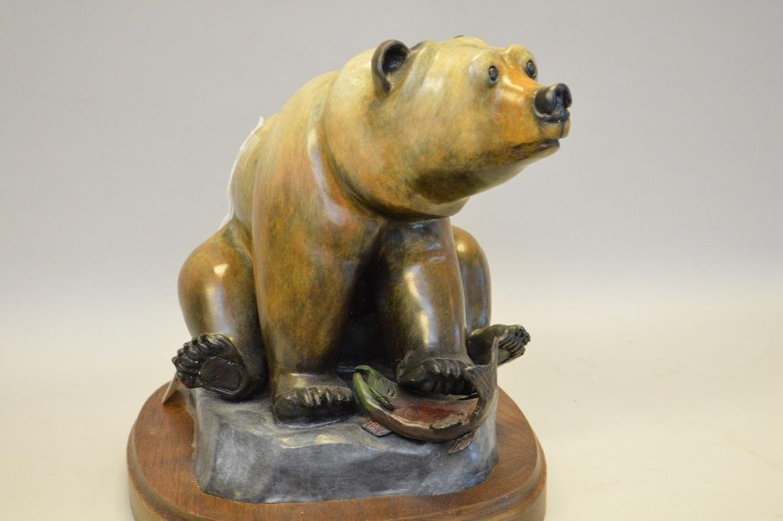 Poly Chromed Bronze Bear mounted on a wood base. - 3