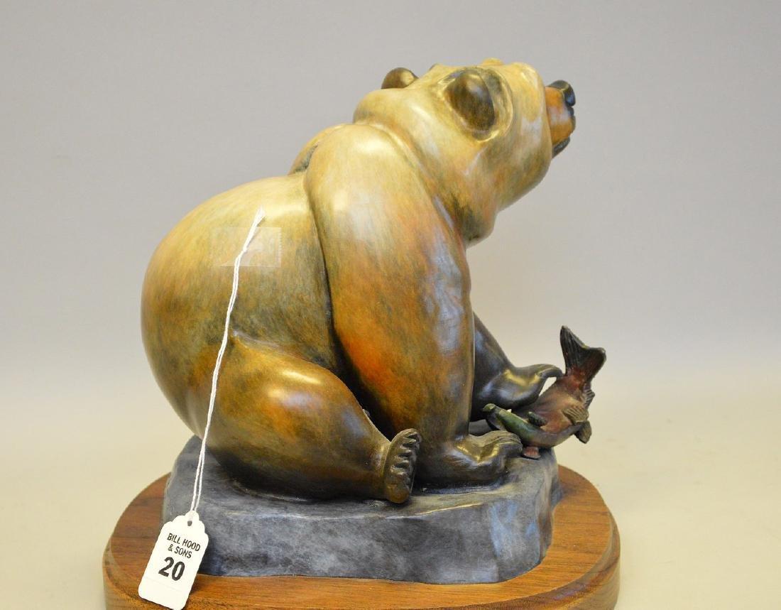 Poly Chromed Bronze Bear mounted on a wood base. - 4