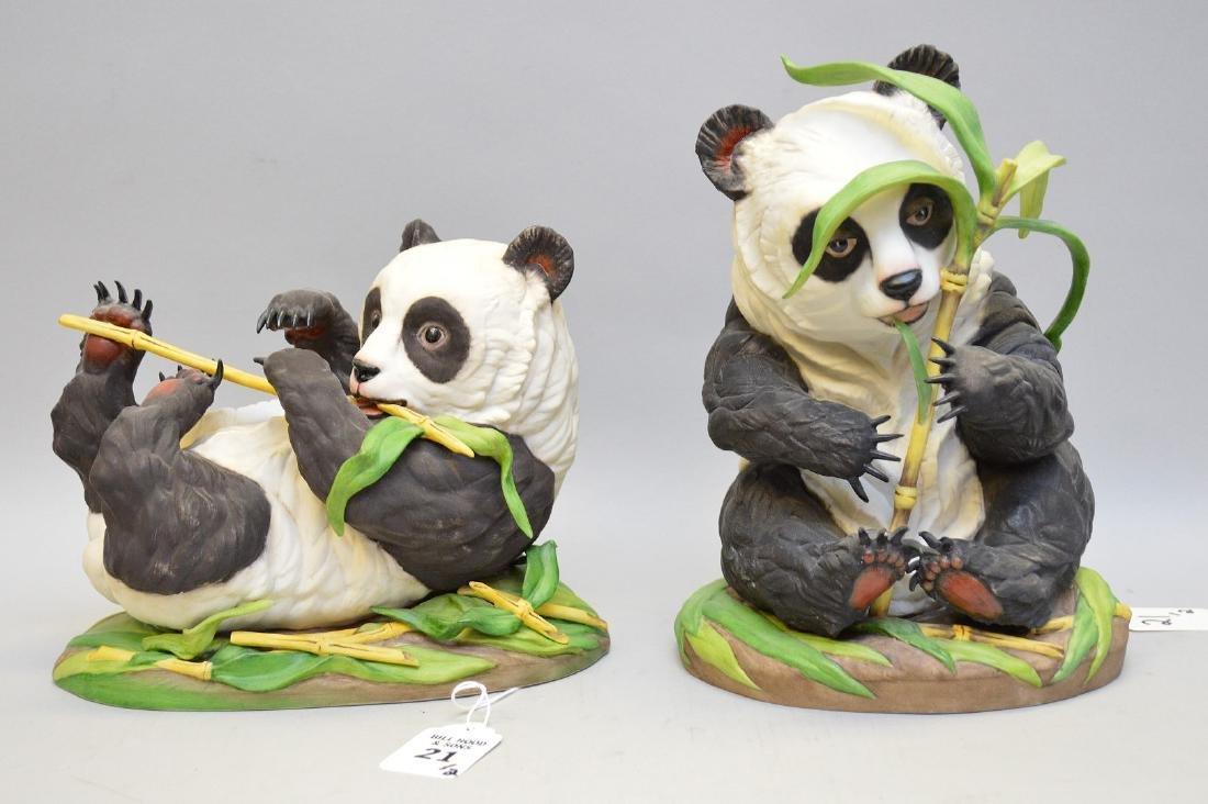 Two Boehm Porcelain Panda Figures.  1 Panda Laying