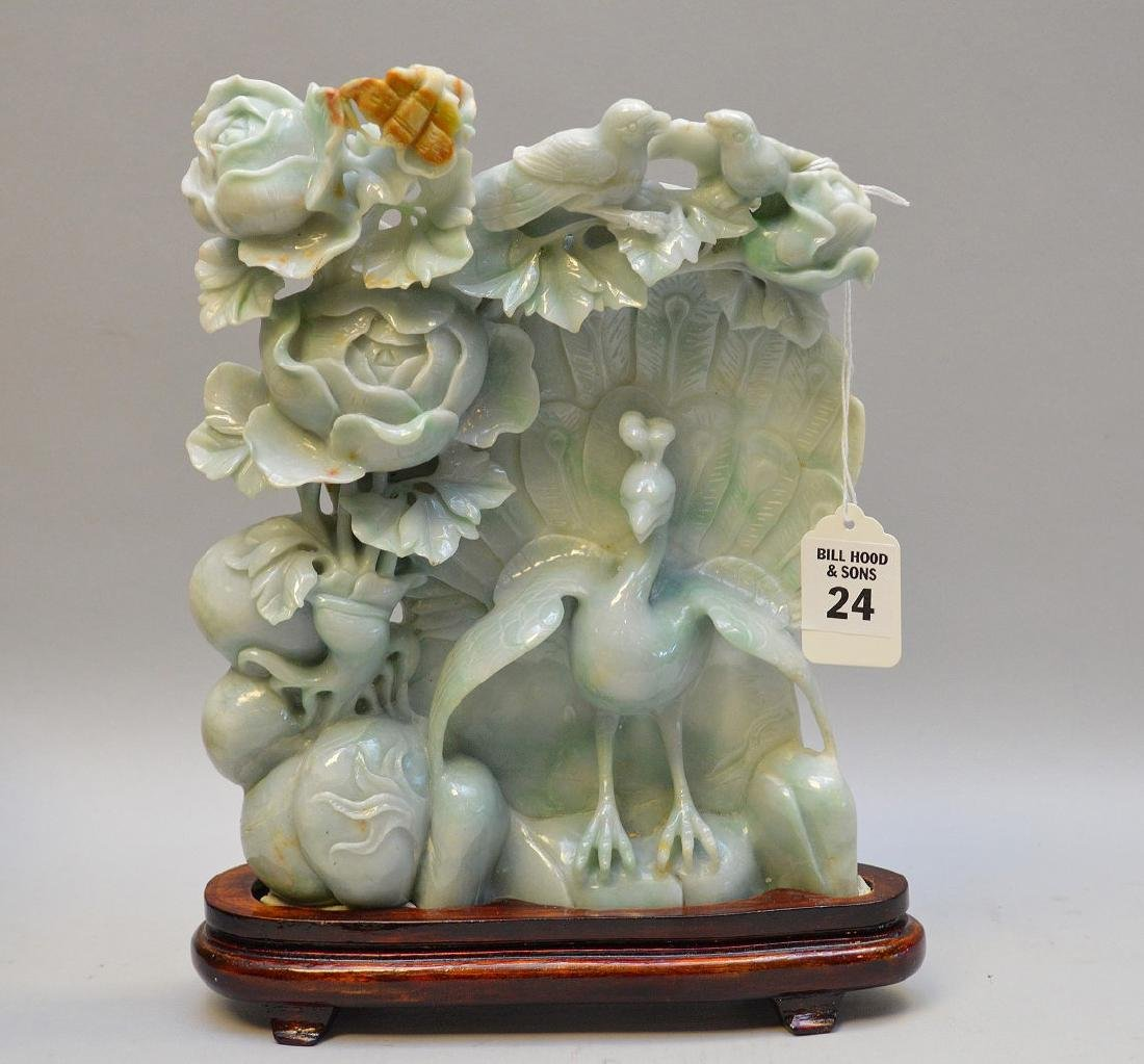 Chinese Carved Jade Group depicting birds in foliage