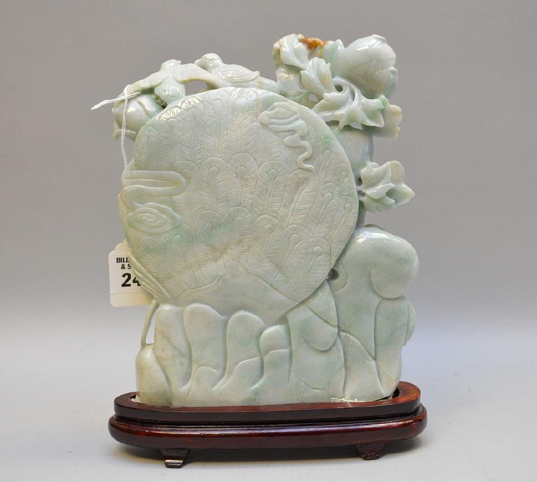 Chinese Carved Jade Group depicting birds in foliage - 4