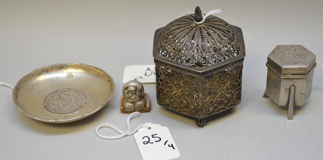 4 Asian Sterling Articles.  6 Sided Reticulated Box Ht.