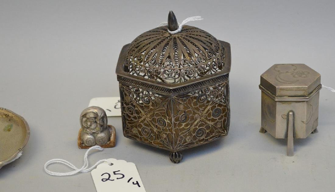 4 Asian Sterling Articles.  6 Sided Reticulated Box Ht. - 4