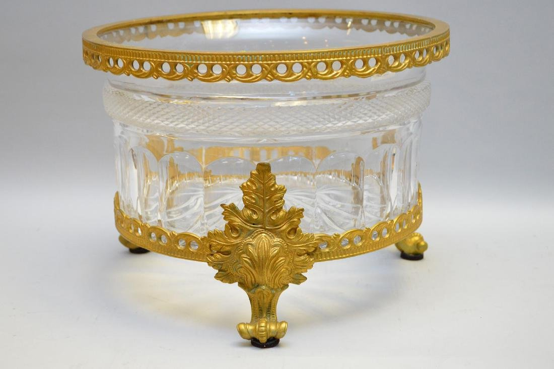 French Gilt Bronze & Crystal Center Bowl.  Condition: