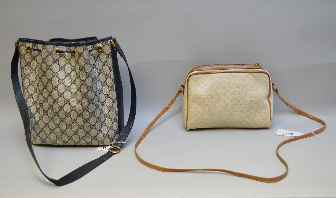 Pair of Vintage Gucci Monogram Purses, Italy. 1) Gucci