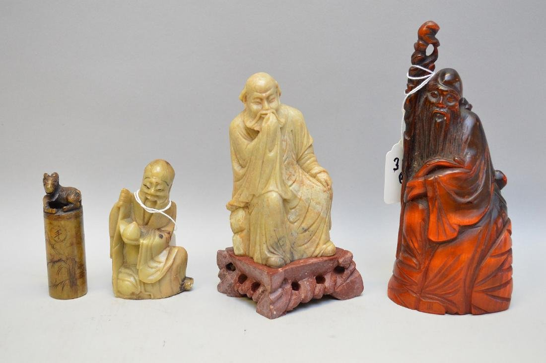 Four Chinese Vintage Carvings. Three Lohan ( two of