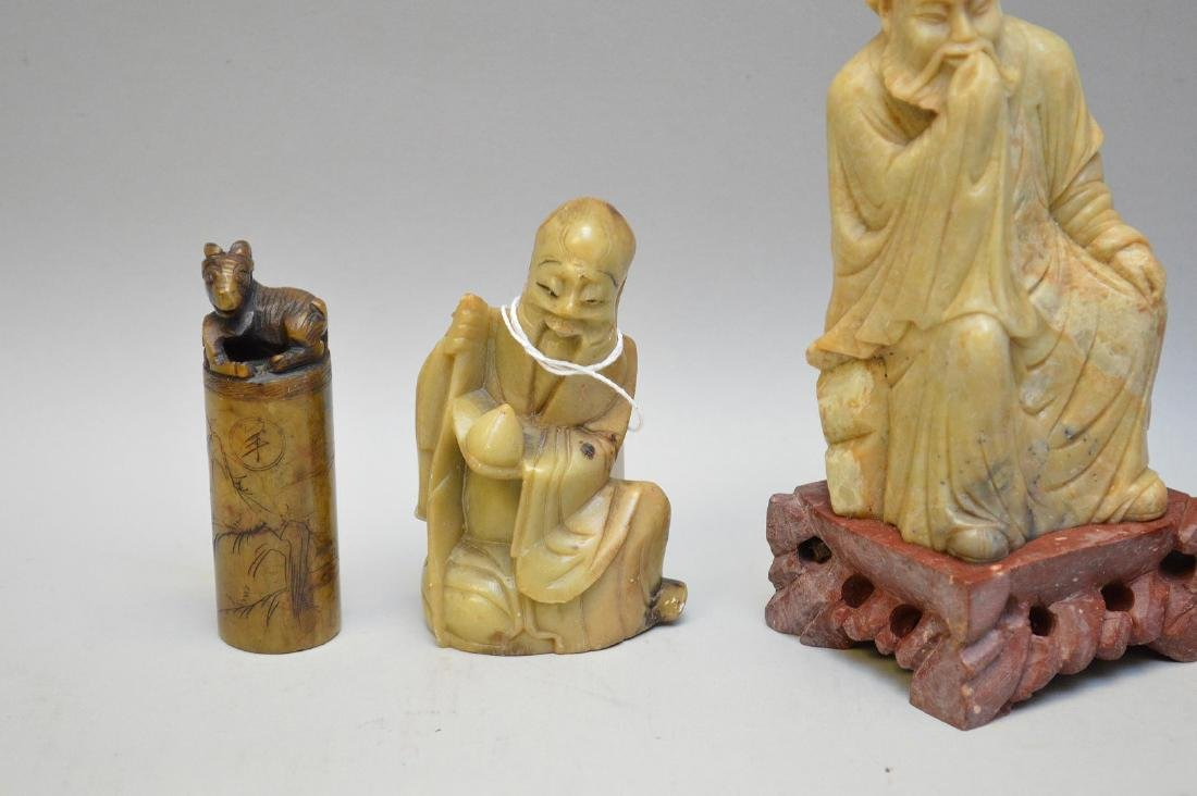 Four Chinese Vintage Carvings. Three Lohan ( two of - 2