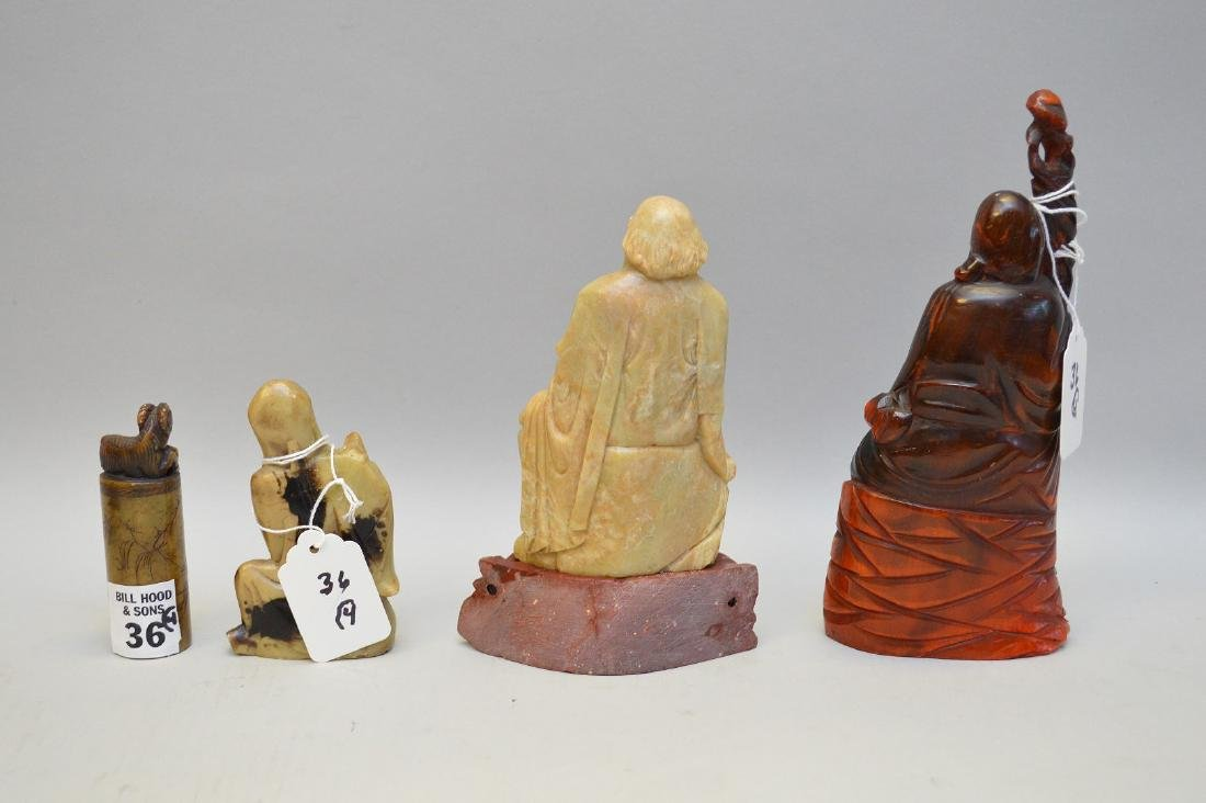 Four Chinese Vintage Carvings. Three Lohan ( two of - 3