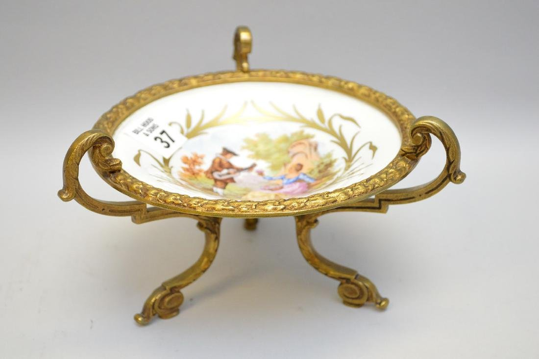 French Candy Dish Gilt Bronze Mounted. Turn of the