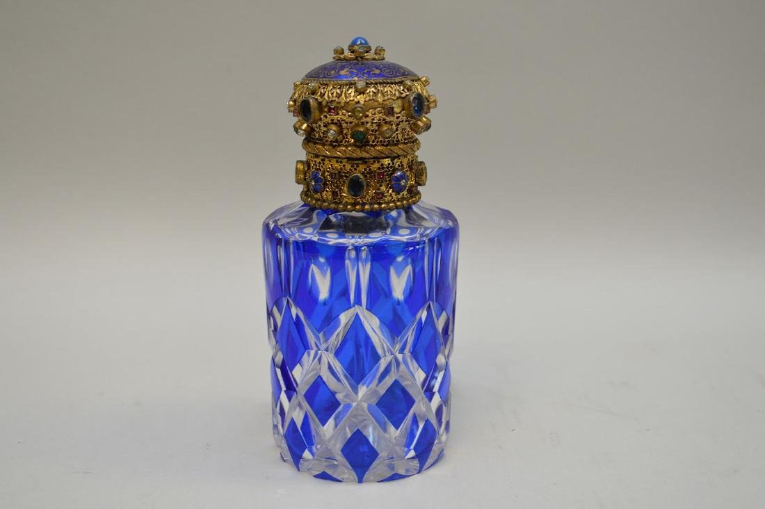 Cobalt cut to clear perfume bottle with jeweled hinged