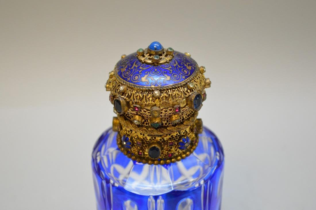Cobalt cut to clear perfume bottle with jeweled hinged - 2