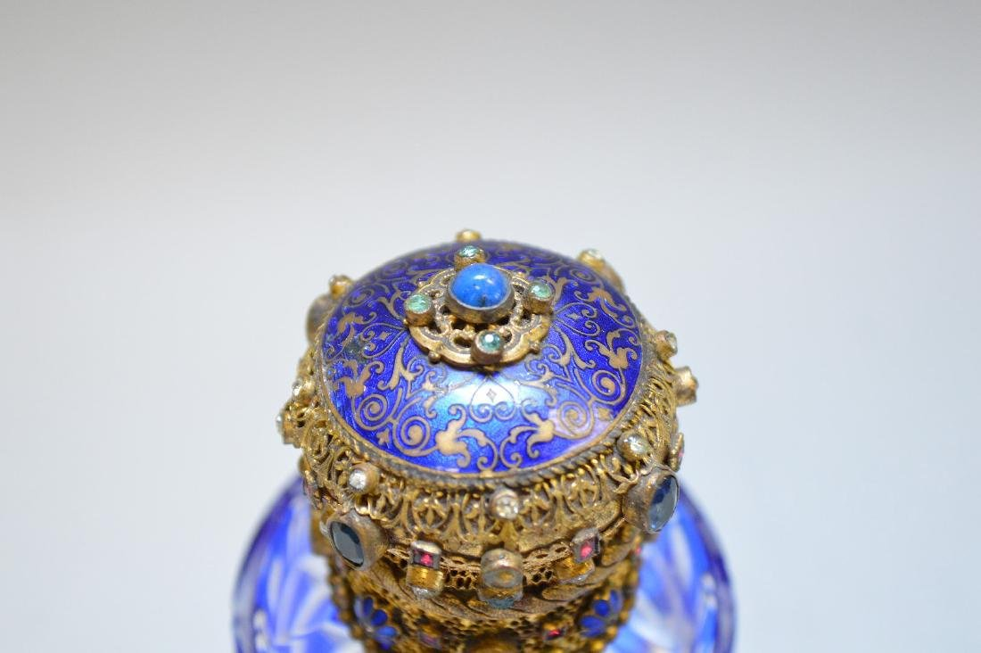 Cobalt cut to clear perfume bottle with jeweled hinged - 3
